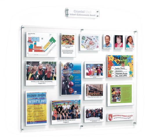 Crystal Wall School Achievements Board (Landscape) 15 Pocket