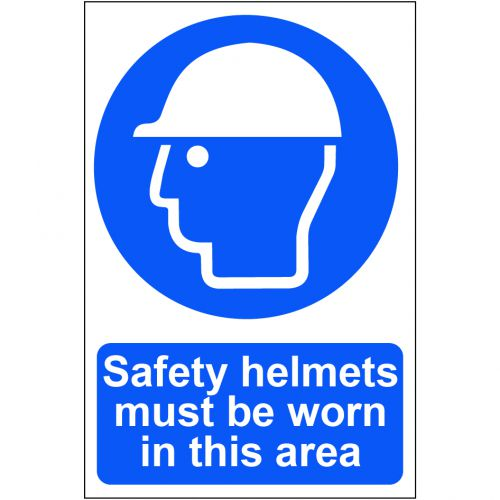 Self adhesive semi-rigid PVC Safety Helmets Must Be Worn In This Area Sign (200 x 300mm). Easy to fix, peel off the backing and apply.