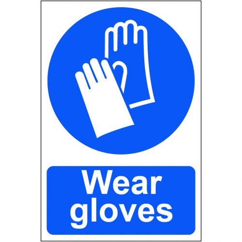 Self adhesive semi-rigid PVC Wear Gloves Sign (200 x 300mm). Easy to fix, simply peel off the backing and apply to a clean, dry surface.