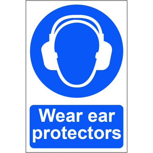 Self adhesive semi-rigid PVC Wear Ear Protectors Sign (200 x 300mm). Easy to fix, simply peel off the backing and apply to a clean, dry surface.