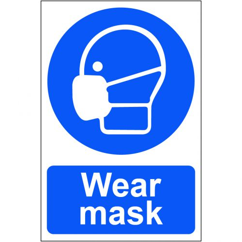 Self adhesive semi-rigid PVC Wear Mask Sign (200 x 300mm). Easy to fix, peel off the backing and apply to a clean, dry surface.