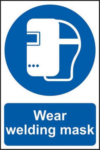 'Wear Welding Mask' Sign; Self-Adhesive Semi-Rigid PVC (200mm x 300mm)