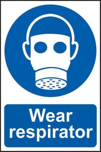 'Wear Respirator' Sign; Self-Adhesive Semi-Rigid PVC (200mm x 300mm)
