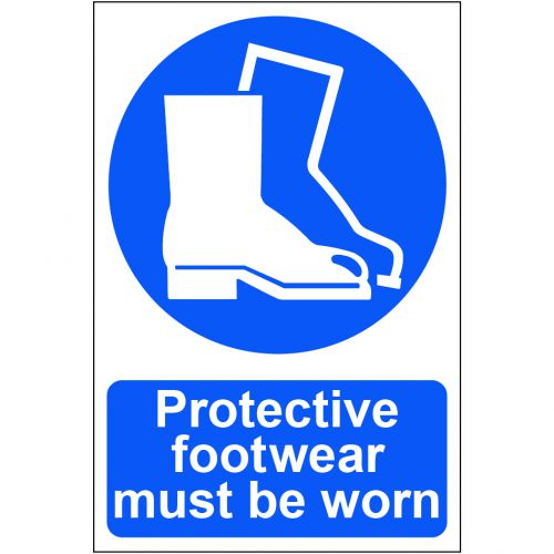Self adhesive semi-rigid PVC Protective Footwear Must be Worn Sign (200 x 300mm). Easy to fix, peel off the backing and apply to a clean, dry surface.