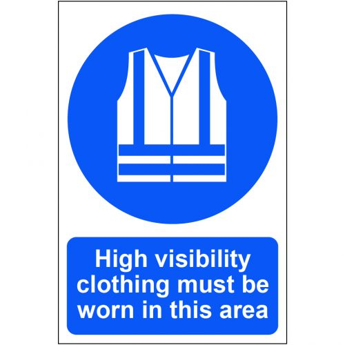 Self adhesive semi-rigid PVC High Visibility Clothing Must Be Worn In This Area Sign (200 x 300mm). Easy to fix, peel off the backing and apply.
