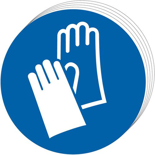 Mandatory Self-Adhesive Vinyl Sign (50mm) pack of 10 - Wear Gloves