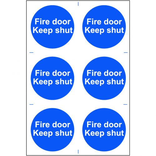 Self adhesive semi-rigid PVC Fire Door Keep Shut Sign (200 x 300mm). Easy to fix; peel off the backing and apply.