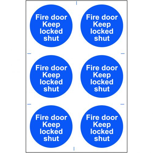 Self adhesive semi-rigid PVC Fire Door Keep Locked Shut Sign (200 x 300mm). Easy to fix; peel off the backing and apply.