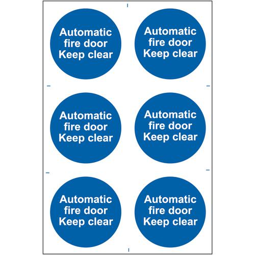 Self ad. semi-rigid PVC Automatic Fire Dook Keep Clear sign (200 x 300mm). Easy to fix; peel off the backing and apply to a clean and dry surface.