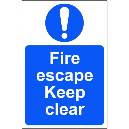 Self adhesive semi-rigid PVC Fire Escape Keep Clear Sign (200 x 300mm). Easy to fix; peel off the backing and apply to a clean and dry surface.