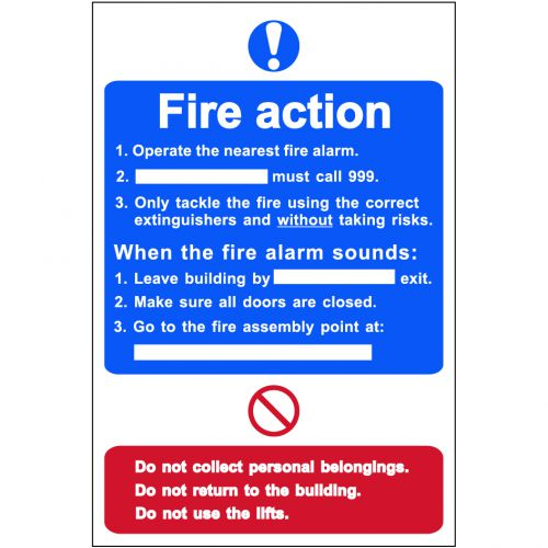 Self adhesive semi-rigid PVC Fire Action Procedure Sign (200 x 300mm). Easy to fix; peel off the backing and apply.