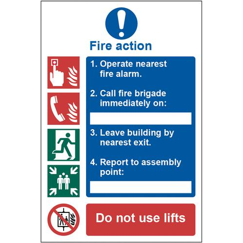 Self adhesive semi-rigid PVC Fire Action Procedure sign (200 x 300mm). Easy to fix; peel off the backing and apply to a clean and dry surface.