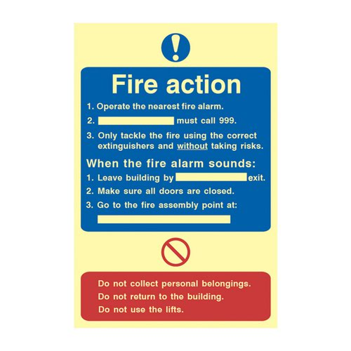 Fire Action Procedure' Sign; 1.3mm Rigid Self Adhesive Photoluminescent (200mm x 300mm)