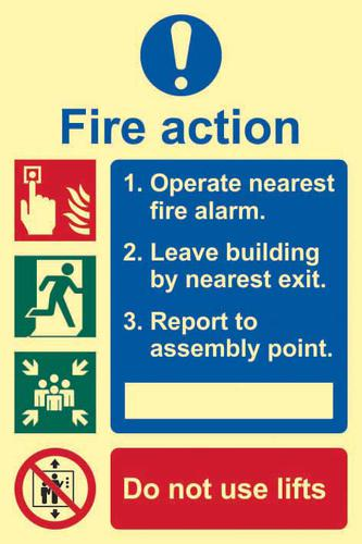 Fire Action Procedure sign (200 x 300mm). Made from 1.3mm rigid photoluminescent board (PHO) and is self adhesive.