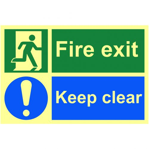 Fire Exit/Keep Clear Sign (300 x 200mm). Made from 1.3mm rigid photoluminescent board (PHO) and is self adhesive.