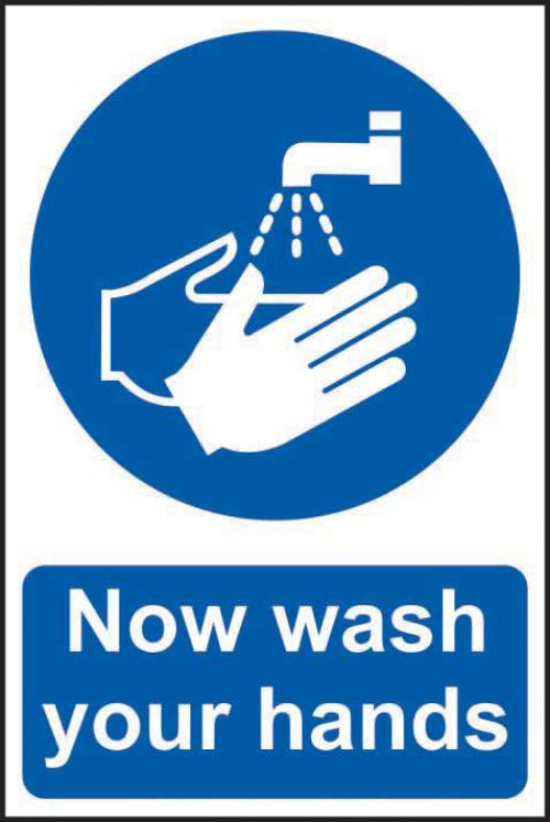 Self adhesive semi-rigid PVC Now Wash Your Hands Sign (200 x 300mm). Easy to fix; peel off the backing and apply to a clean and dry surface.