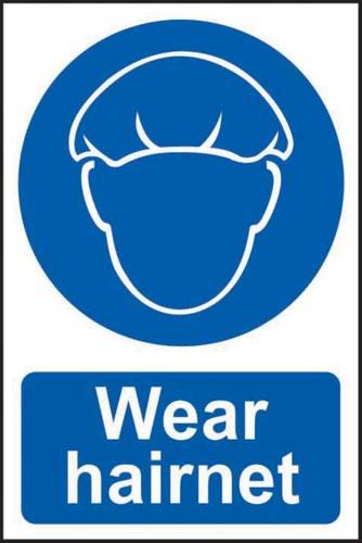 'Wear Hairnet' Sign; Self-Adhesive Semi-Rigid PVC (200mm x 300mm)
