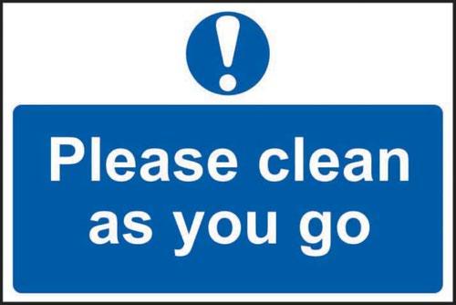 'Please Clean As You Go' Sign; Self-Adhesive Semi-Rigid PVC (300mm x 200mm)