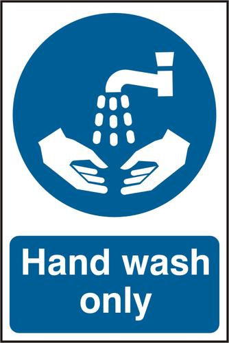 Self adhesive semi-rigid PVC Hand Wash Only Sign (200 x 300mm). Easy to fix, peel off the backing and apply to a clean and dry surface.