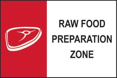 'Raw Food Preparation Zone' Sign; Self-Adhesive Semi-Rigid PVC (300mm x 200mm)