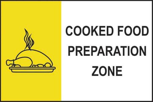 'Cooked Food Preparation Zone' Sign; Self-Adhesive Semi-Rigid PVC (300mm x 200mm)