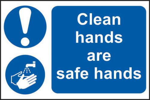 Self adhesive semi-rigid PVC Clean Hands Are Safe Hands Sign (300 x 200mm). Easy to fix, peel off the backing and apply to a clean and dry surface.