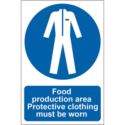 'Food Production Area Protective Clothing Must Be Worn' Sign; Self-Adhesive Semi-Rigid PVC (200mm x 300mm)