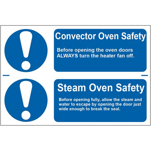 'Convector Oven Safety/Steam Oven Safety' Sign; Self-Adhesive Semi-Rigid PVC (300mm x 100mm) 2 Per Sheet