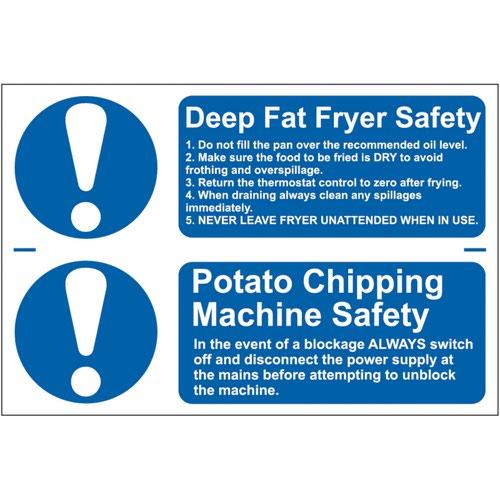 'Deep Fat Fryer Safety/Potato Chipping Machine Safety' Sign; Self-Adhesive Semi-Rigid PVC (300mm x 100mm) 2 Per Sheet