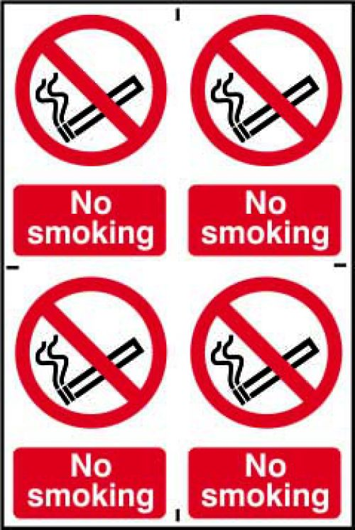 Self adhesive semi-rigid PVC No Smoking Sign (200 x 300mm). Easy to fix; simply peel off the backing and apply to a clean dry surface.