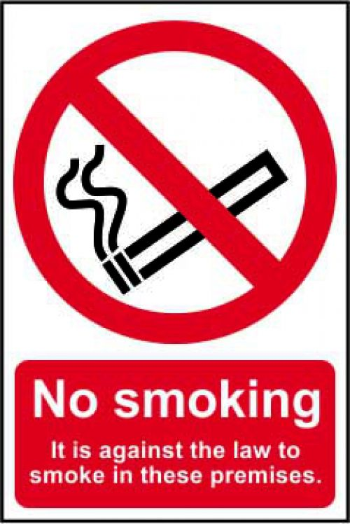 Self adhesive semi-rigid PVC No Smoking (Against the law) Sign (200x300mm). Easy to fix; simply peel off the backing and apply to a clean dry surface.
