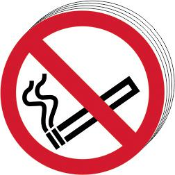 Self-Adhesive Vinyl No Smoking Symbol sign (50mm diameter) PK10. Easy to use and fix.