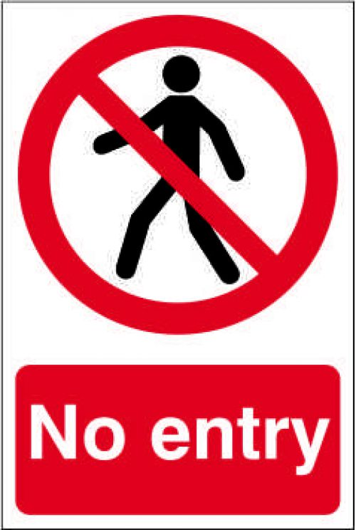 Self adhesive semi-rigid PVC No Entry Sign (200 x 300mm). Easy to fix, simply peel off the backing and apply to a clean dry surface.