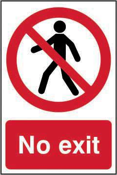 Self adhesive semi-rigid PVC No Exit sign (200 x 300mm). Easy to fix; peel off the backing and apply to a clean and dry surface.