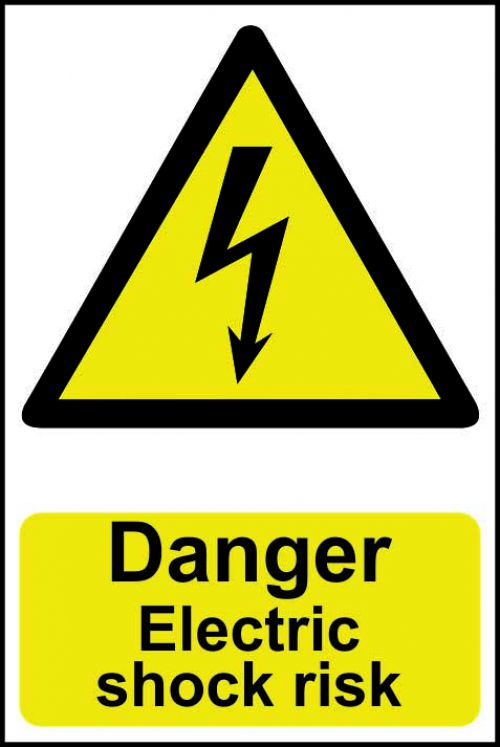 Self adhesive semi-rigid PVC Danger Electric Shock Risk Sign (200 x 300mm). Easy to fix; peel off the backing and apply to a clean and dry surface.