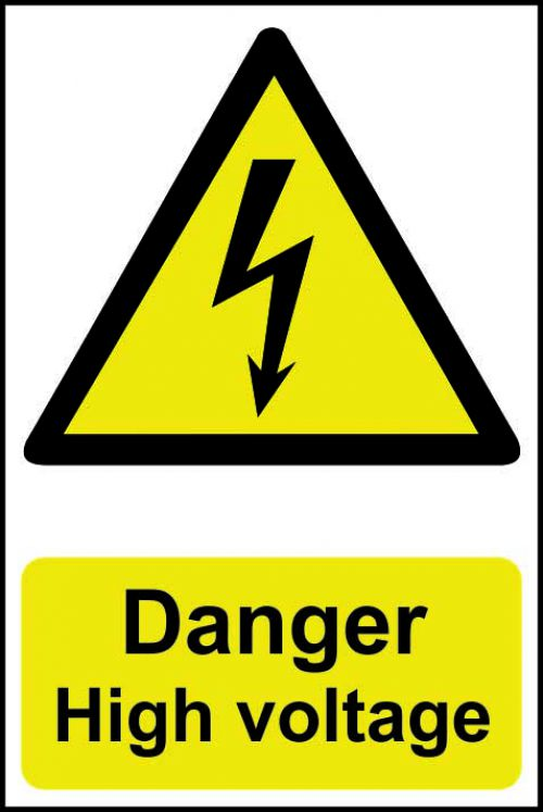 Self adhesive semi-rigid PVC Danger High Voltage Sign (200 x 300mm). Easy to fix; peel off the backing and apply to a clean and dry surface.