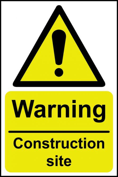 Self adhesive semi-rigid PVC Warning Construction Site Sign (200 x 300mm). Easy to fix; peel off the backing and apply to a clean and dry surface.