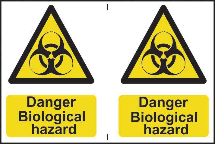 Hazard Warning Self-Adhesive PVC Sign (300 x 200mm) 2 signs per sheet - Danger Biological Hazard