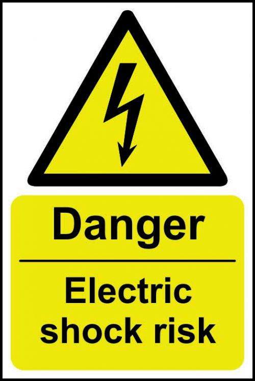 Danger Electric Shock Risk sign (200 x 300mm). Manufactured from strong rigid PVC and is non-adhesive; 0.8mm thick.