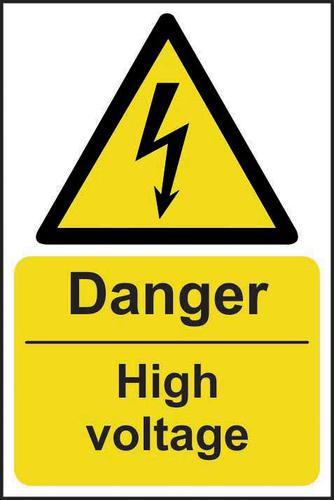 Self-Adhesive Vinyl Danger High Voltage sign (200 x 300mm). Easy to use and fix.