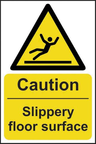 Caution Slippery Floor Surface' Sign; Self-Adhesive Vinyl (200mm x 300mm)