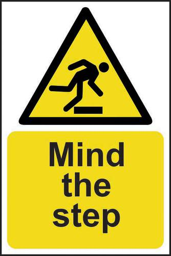 Mind The Step sign (200 x 300mm). Manufactured from strong rigid PVC and is non-adhesive; 0.8mm thick.