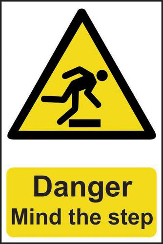 Self adhesive semi-rigid PVC Danger Mind The Step sign (200 x 300mm). Easy to fix; peel off the backing and apply to a clean and dry surface.