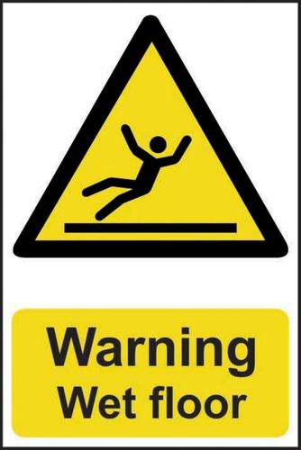 'Warning Wet Floor' Sign; Self-Adhesive Semi-Rigid PVC (200mm x 300mm)