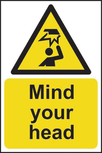 Mind Your Head sign (200 x 300mm). Manufactured from strong rigid PVC and is non-adhesive; 0.8mm thick.
