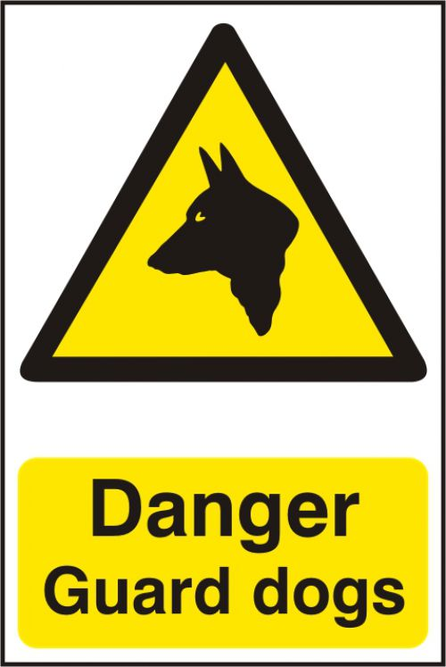 Self adhesive semi-rigid PVC Danger Guard Dogs Sign (200 x 300mm). Easy to fix; peel off the backing and apply.