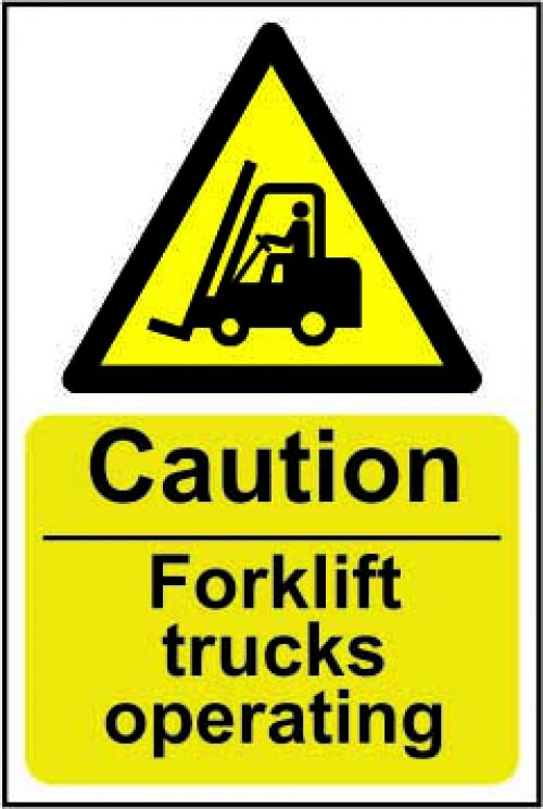 Caution Fork Lift Trucks Operating sign (200 x 300mm). Manufactured from strong rigid PVC and is non-adhesive; 0.8mm thick.