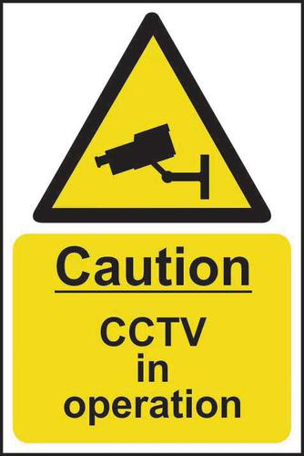 Self-Adhesive Vinyl Caution CCTV In Operation sign (400 x 600mm). Easy to use and fix.