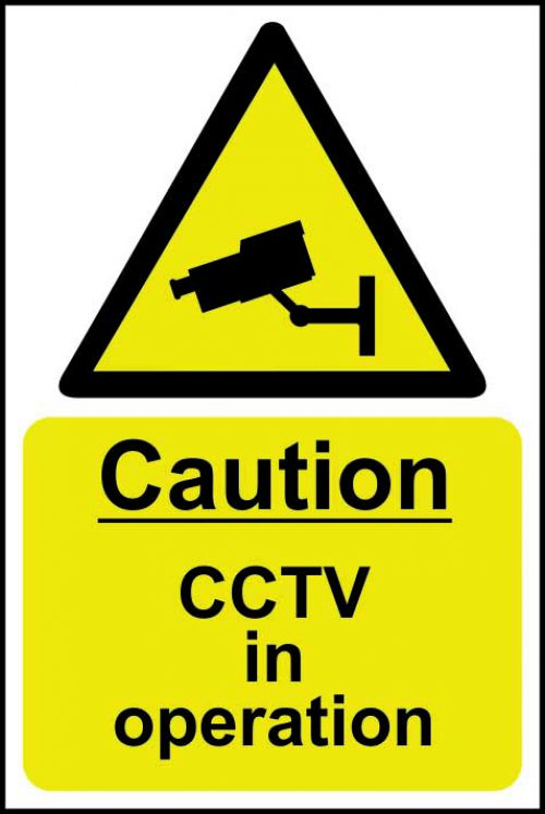 Caution CCTV In Operation sign (400 x 600mm). Manufactured from strong rigid PVC and is non-adhesive; 0.8mm thick.