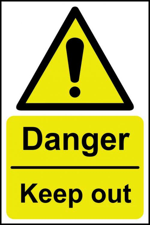Danger Keep Out sign (200 x 300mm). Manufactured from strong rigid PVC and is non-adhesive; 0.8mm thick.